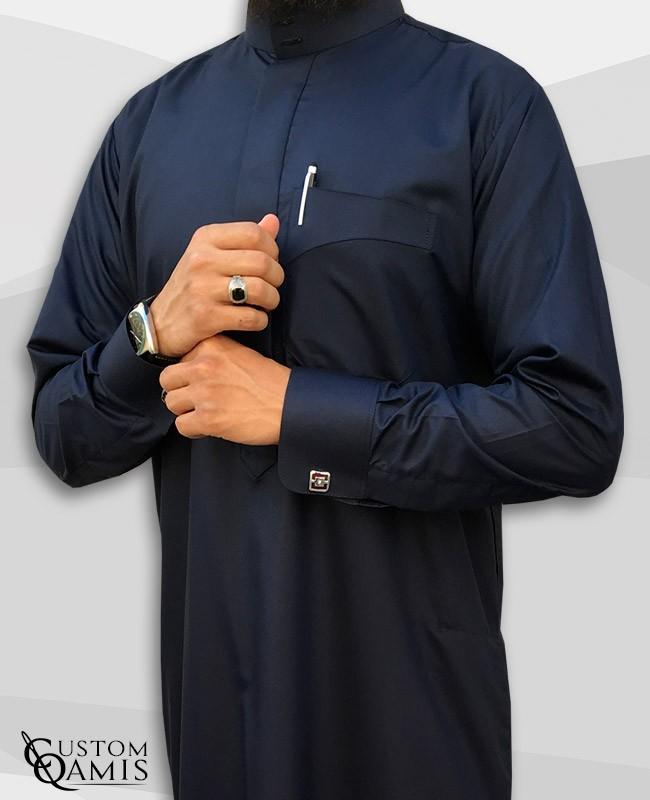 Qamis Saoudien Bleu Marine Satiné