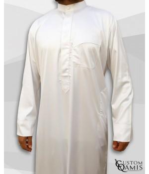 Qamis Koweïti Tissu Precious Blanc