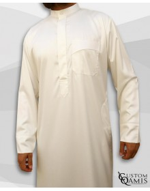 Kamees Kuwaiti Cream Precious Satin Fabric