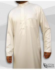 Qamis Koweïti Tissu Precious Crème