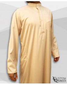 Qamis Koweïti Tissu Precious Beige