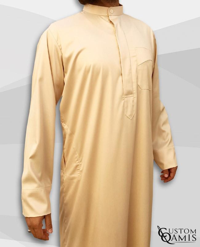 Kamees Kuwaiti Beige Precious Satin Fabric