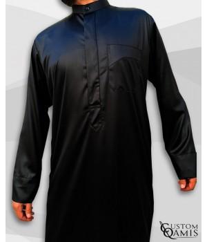 Kamees Kuwaiti Black Precious Satin Fabric