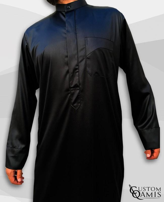 Qamis Koweïti Tissu Precious Noir Col