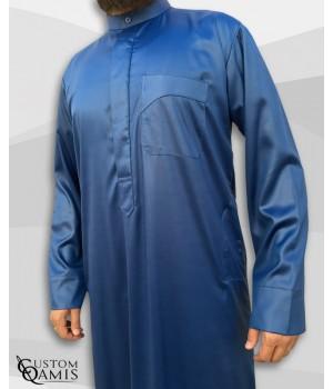 Qamis Koweïti Tissu Precious Bleu Roi