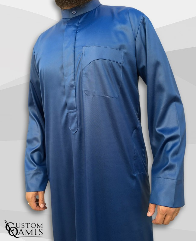 Kamees Kuwaiti Royal Blue Precious Satin Fabric
