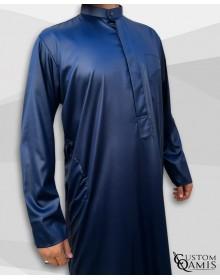 Qamis Koweïti Tissu Precious Bleu Marine