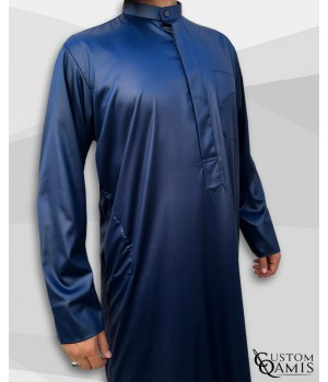 Kamees Kuwaiti Navy Blue Precious Satin Fabric
