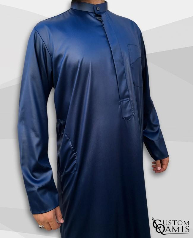 Kamees Kuwaiti Navy Blue Precious Satin Fabric