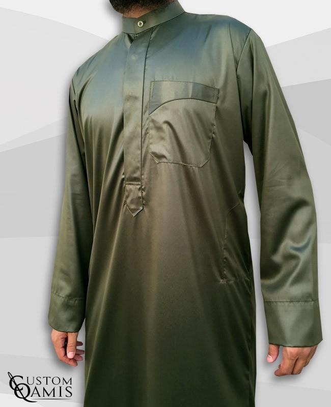 Kamees Kuwaiti Khaki Green Precious Satin Fabric