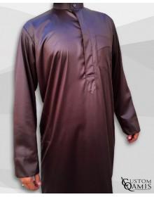 Qamis Koweïti Tissu Precious Marron