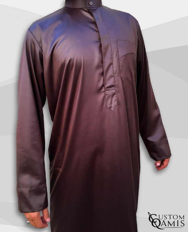 Kamees Kuwaiti Brown Precious Satin Fabric