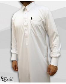 Qamis Qatari Tissu Precious Blanc