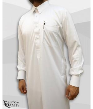 Kamees Qatari White Precious Satin Fabric