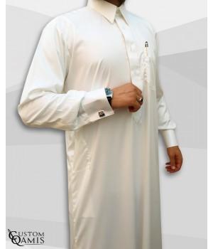 Kamees Qatari Cream Precious Satin Fabric