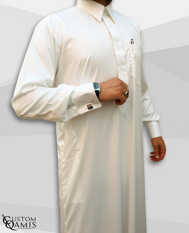 Qamis Qatari Tissu Precious Crème