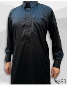 Kamees Qatari Black Precious Satin Fabric