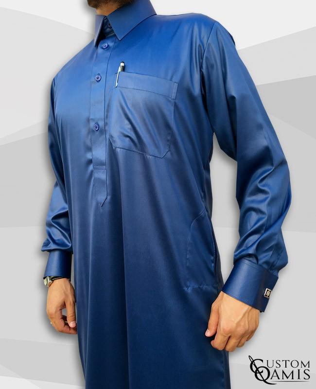 Qamis Qatari Tissu Precious Bleu Roi