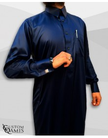 Kamees Qatari Navy Blue Precious Satin Fabric