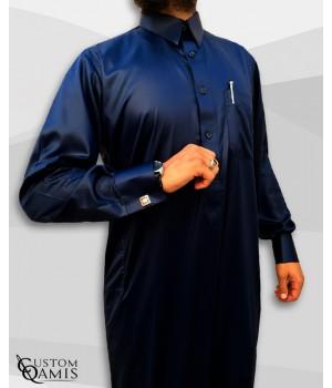 Qamis Qatari Tissu Precious Bleu Marine