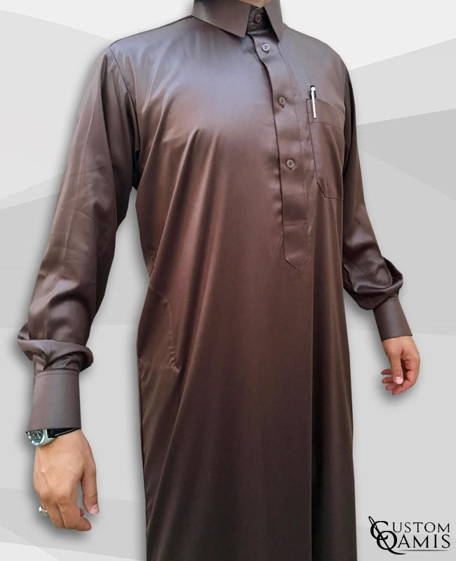Qamis Qatari Tissu Precious Marron
