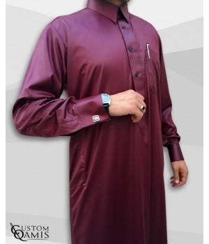 Kamees Qatari Burgundy Precious Satin Fabric