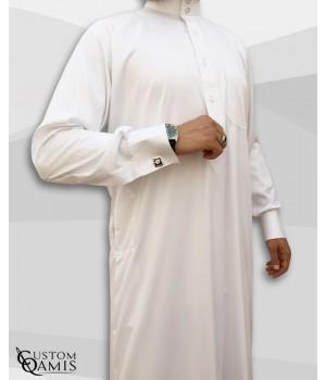 Qamis Saoudien Blanc Tissu Precious