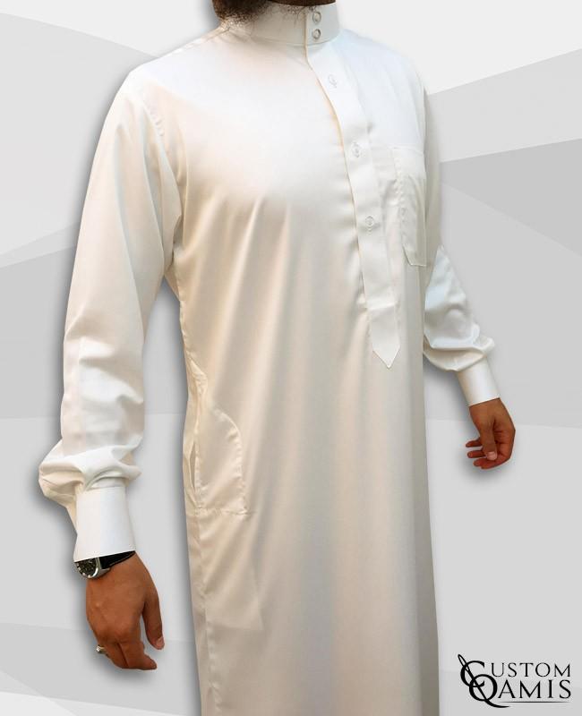 Saudi Kamees Cream Precious Satin Fabric