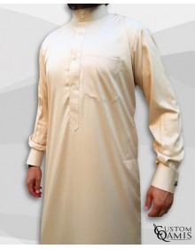 Saudi Kamees Beige Precious Satin Fabric