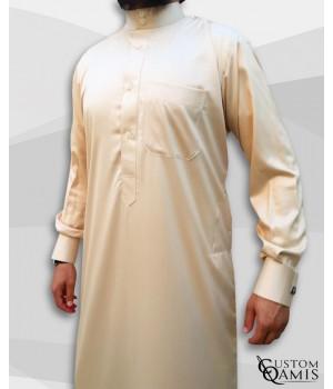 Qamis Saoudien Beige Tissu Precious