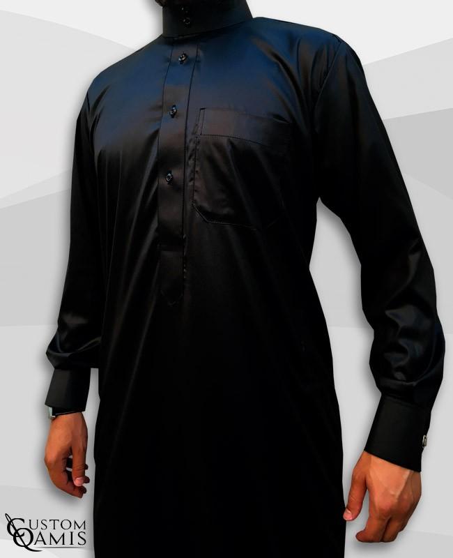 Qamis Saoudien Noir Tissu Precious