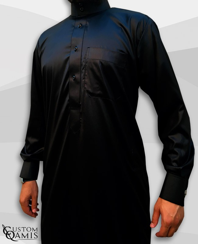 Saudi Kamees Black Precious Satin Fabric