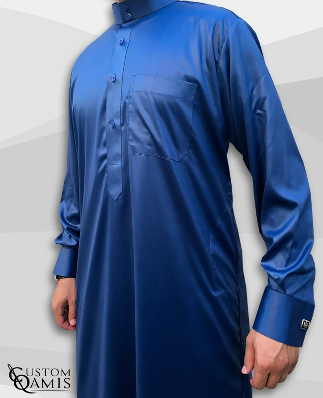 Saudi Kamees Royal Blue Precious Satin Fabric