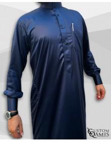 Qamis Saoudien Bleu Marine Tissu Precious