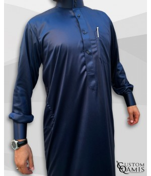 Saudi Kamees Navy Blue Precious Satin Fabric