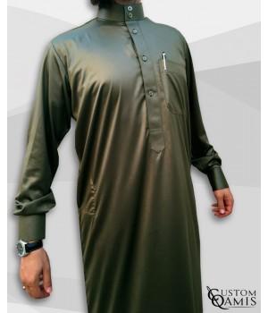 Saudi Kamees Khaki Green Precious Satin Fabric
