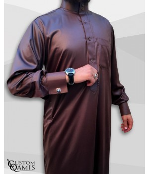 Saudi Kamees Brown Precious Satin Fabric