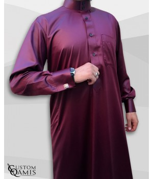 Saudi Kamees Burgundy Precious Satin Fabric