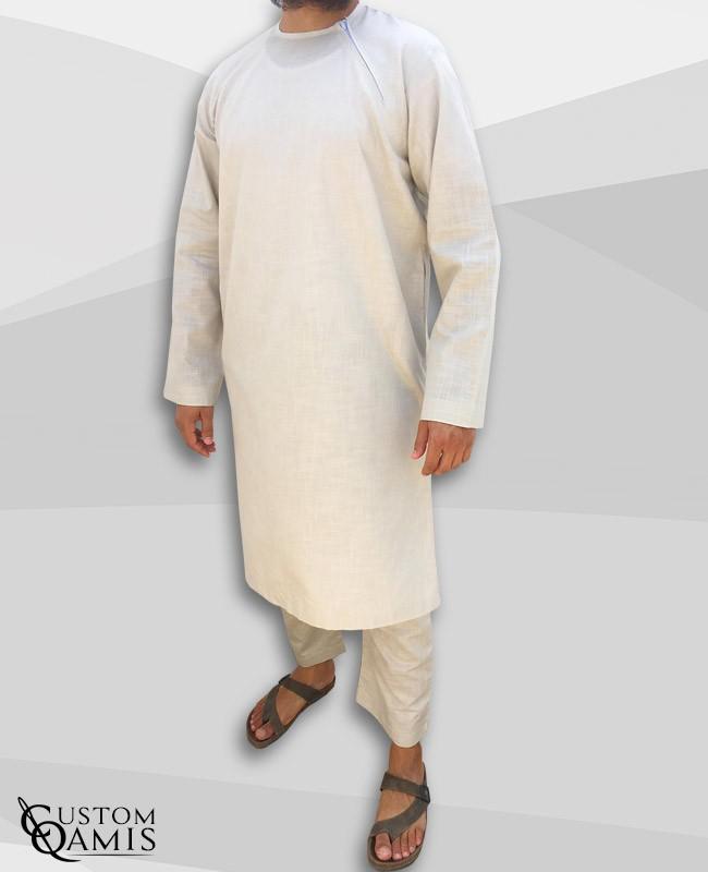 Ensemble Pakistannais en lin beige avec serwel coupe droite