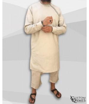 Imad tunic set linen beige with sarouel maroccan cut