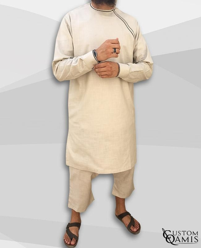 Imad tunic set linen beige with sarouel qandrissi cut
