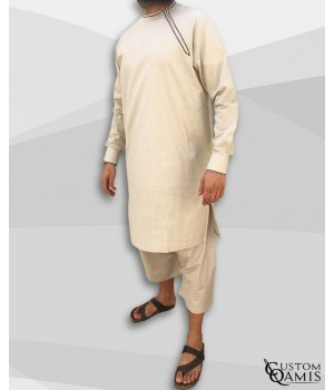 Imad tunic set linen beige with sarouel maroccan cut