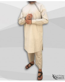 Imad tunic set linen beige with sarouel straight cut