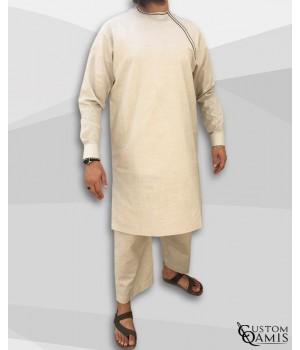 Ensemble Imad tunique en lin beige avec serwel coupe droite