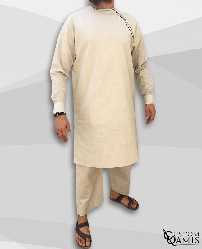 Imad tunic set linen beige with sarouel straight cut