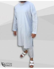 Ensemble Pakistannais en lin bleu ciel clair avec serwel coupe droite