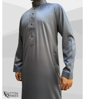 Qamis Sultan Grey Satin