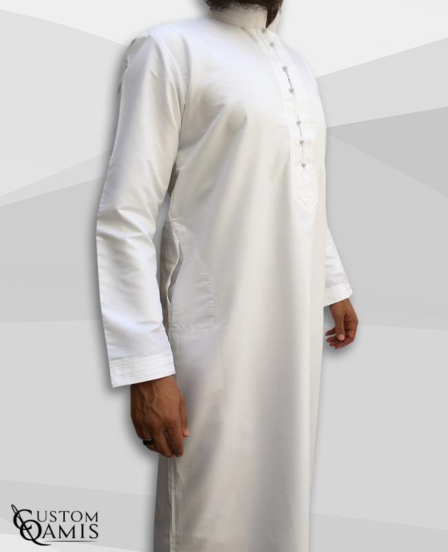 Sultan Thobe Platinium White Rounded Bahraini Collar