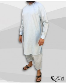 Pakistani set linen light sky blue with white embrodery and sarouel qandrissi cut