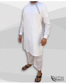 Ensemble Pakistannais en lin blanc avec broderie noire et serwel coupe droite